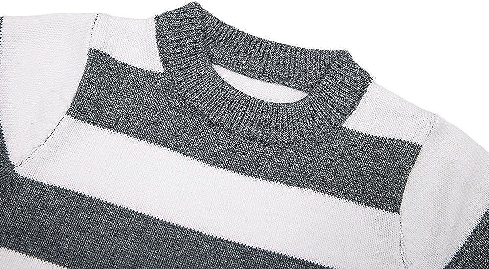 Baby boy//Toddler Jojobaby Little Boys Crewneck Striped Knit Pullover Sweater