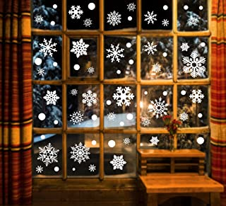 luck sea 190PCS Christmas Snowflake Window Clings Decorations - Xmas Stickers Decals Ornaments