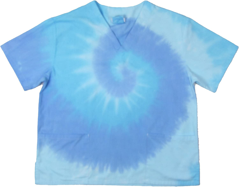 Brightside Unisex 2Pocket TieDye Scrub Top  Pastel bluee