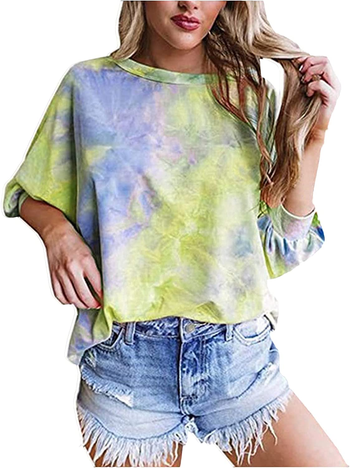 Tops for Womens Casual Summer Colorful Ranking TOP10 Crewneck Las Vegas Mall Shir Tie Dye Tee