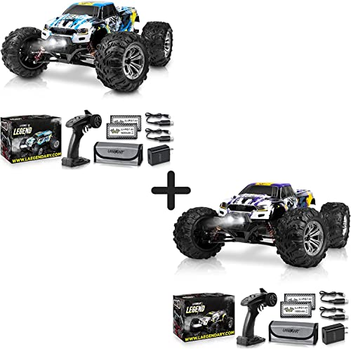 wholesale 1:10 Scale Large RC Cars 50+ new arrival kmh Speed - Boys Remote Control Car 4x4 Off Road Monster Truck Electric - All Terrain Waterproof Toys Trucks for Kids and online Adults - Blue-Yellow and Purple-Yellow outlet online sale