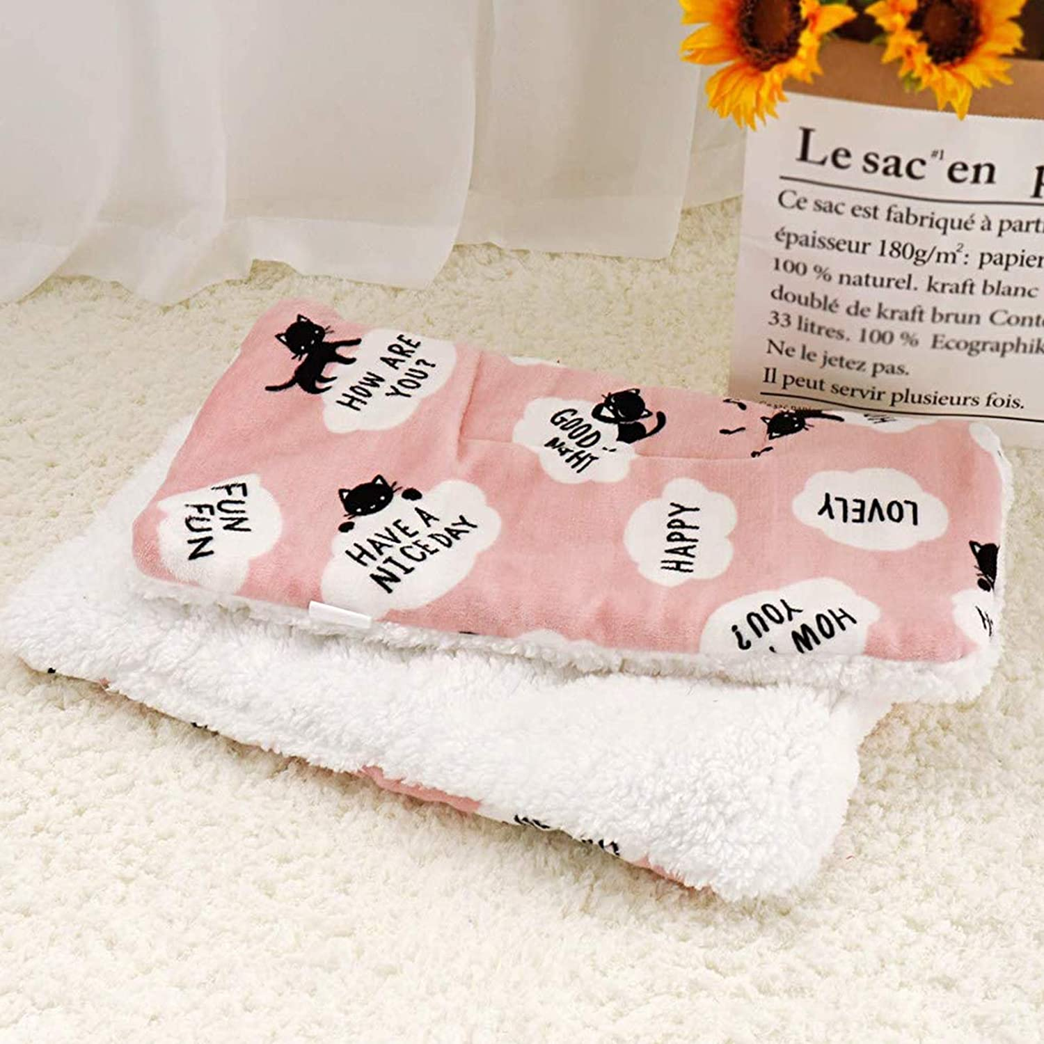 Cute Print Design Pink Fluffy Fleece Cat Cushion for Puppy Kitten Pad Mat 42x55cm Soft and Warm Pet Blankets for Sleeping Bed Sofa Cat Blanket Personalised Lvjkes Dog Blankets Washable