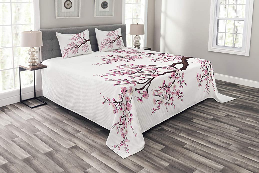 Ambesonne Japanese Bedspread Set King Size, Branch of a Flourishing Sakura Tree Flowers Cherry Blossoms Spring Theme Art, 3 Piece Decorative Quilted Coverlet with 2 Pillow Shams, Dark Brown