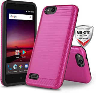 Phone Case for [ZTE ZFIVE G LTE (Z557BL) / ZTE ZFIVE C LTE (Z558VL)], [Modern Series][Pink] Shockproof Cover [Impact Resistant][Defender] (Tracfone, Simple Mobile, Straight Talk, Total Wireless)