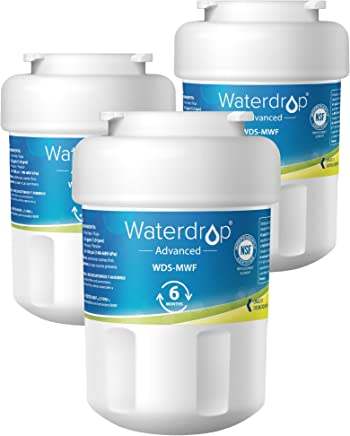 Waterdrop MWF NSF 53&42 Certified Refrigerator Water Filter, Compatible with GE SmartWater MWF, MWFINT, MWFP, MWFA, GWF, HDX FMG-1, GSE25GSHECSS, WFC1201, RWF1060, 197D6321P006, Kenmore 9991, 3 Pack