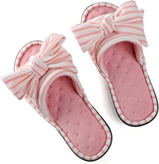 Women's Memory Foam Open Toe Slide Slippers with Adjustable Strap and Cozy Terry Lining, Ladies' Cute Slip-on House Shoes Spa Mules Sandals with Indoor Outdoor Anti-Skid Rubber Sole