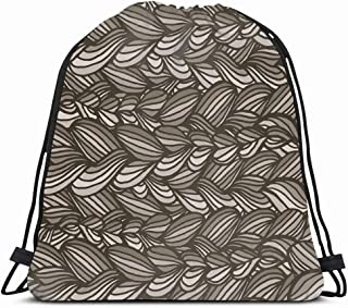Ahawoso Gym Drawstring Bags Backpack String Bag 14X16 Yarn Carpet Monochrome Graphics Artistic Pattern Beauty Abstract Beautiful Black Braid Graphic Canvas Sport Sackpack Hiking Yoga Travel Beach
