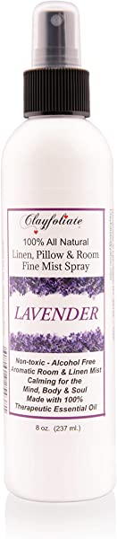 Clayfoliate Lavender Linen And Room Spray Calming Essential Oil Linen And Room Spray With 100 Therapeutic Essential Oil Of Lavender Combined With All Natural Ingredients 8 Oz Made In The USA