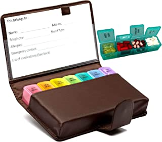 Pill Organizer 7 Day Medicine Box Weekly Large Travel Pills Case 4 Times a Day Medication Container Vitamin Fish Oil Holder with BN PU Leather Case to Protect from Light Fits in Purse (Large, Brown)