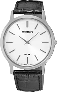 Men's Acciaio INOX Quartz Watch with Leather Strap, Silver, 20 (Model: Solar Herren)
