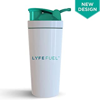 BPA Free Shaker Bottle by LyfeFuel - Non-Plastic, Stainless Steel Design- Ideal as a Water Bottle and Shaker for Pre Exercise Hydration & Post Workout Fuel - Mixer Cap Easily Blends Protein Powder