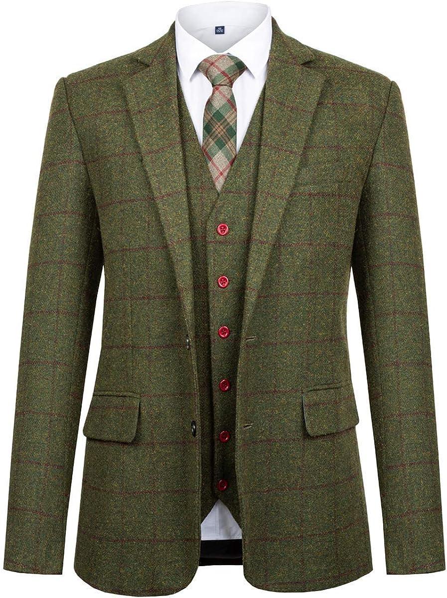 Super Special SALE held PG Men's Plaid Suit 3-Piece Blend Alternative dealer Wool Notch Lapel Single-Breas