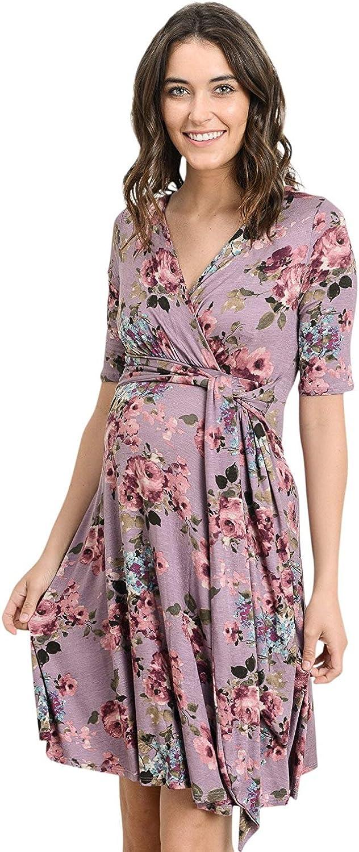 HELLO MIZ Women's Maternity 55% OFF New York Mall Short Sleeve Wrap Dress Length Knee