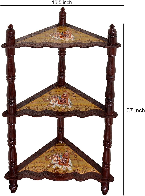Lalhaveli Wooden 3 Shelf Corner Bookcase Standing Corner Shelf 37 x 16.5 x 16.5 Inch