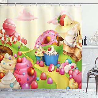 Pink Decor Shower Curtain, Food Theme Sweet Landscape of Candies Cupcakes Lollipop and Ice Cream Print, Fabric Bathroom De...