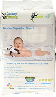 Eco Friendly Premium Bamboo Disposable Diapers by Andy Pandy - XL - for Babies Weighing 26+ lbs - X-Large (Pack of 62)