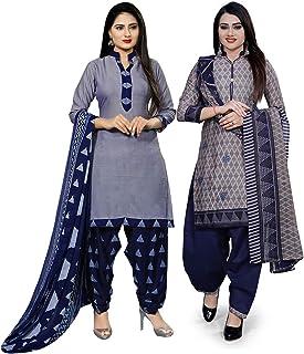 Rajnandini Women's Cotton Unstitched Salwar Suit (Pack of 2) (JOPL710C-1011_Blue & Grey_Free Size)