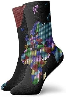 tyui7, Calcetines de Compresión Antideslizantes con Mapa del Mundo Multicolor Punteado Calcetines de 30 cm Cosy Athletic para Hombres, Mujeres, Niños