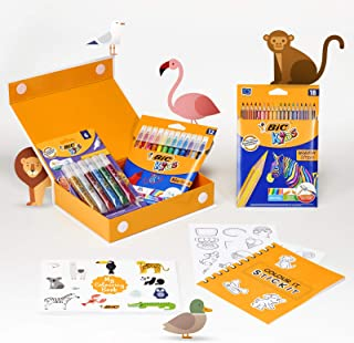 BIC 975009 My Colouring Box - Colouring Kit with 12 Markers/ 18 Colouring Pencils/ 6 Glitter Glues/ 1 Colouring Book and 3...