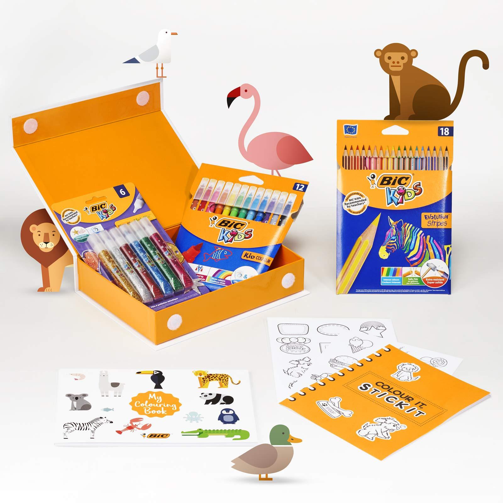 BIC My Colouring Box - Kit para Colorear con 12 Marcadores/18 Lápices de colores/6 Tubos de Pegamento con Purpurina/1 Libro para Colorear y 36 Adhesivos: Amazon.es: Oficina y papelería