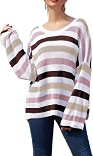 Donnalla Womens Casual Color Block Striped Oversized Sweaters Long Sleeve Loose Pullover Chunky Knit Jumper Tops