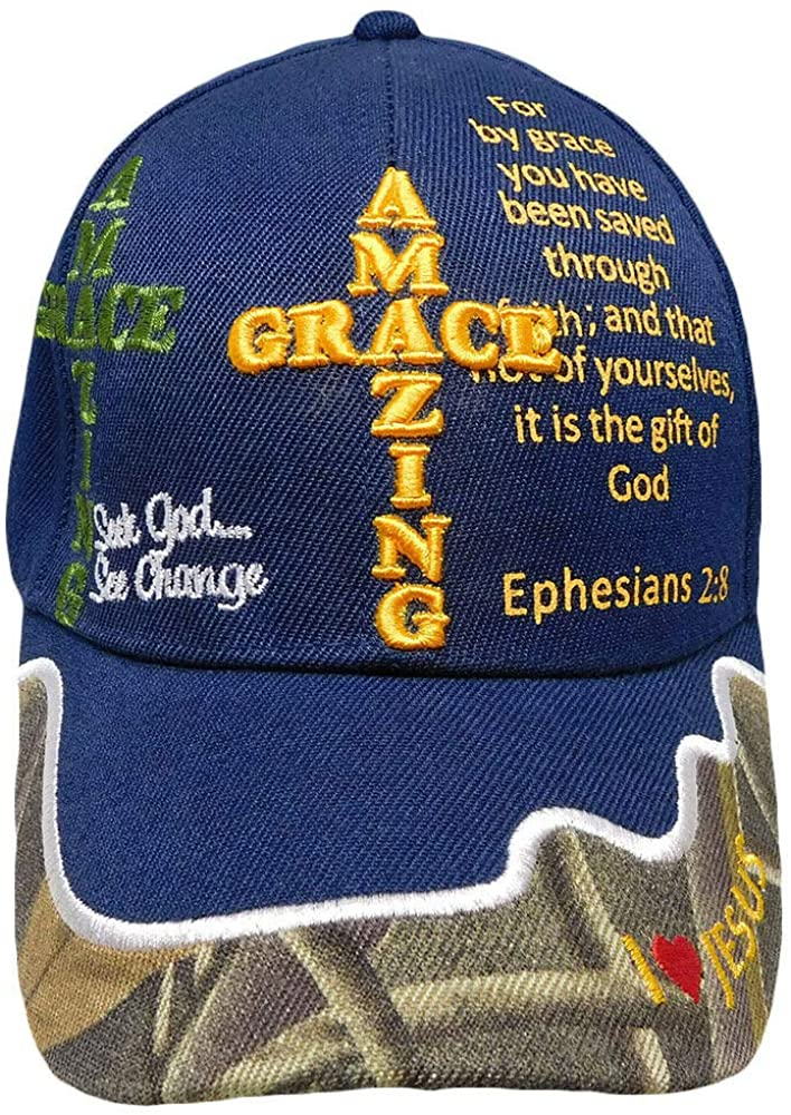 Amazing Grace Ephesians 2:8 Christian Navy Blue Camo Embroidered Hat Cap
