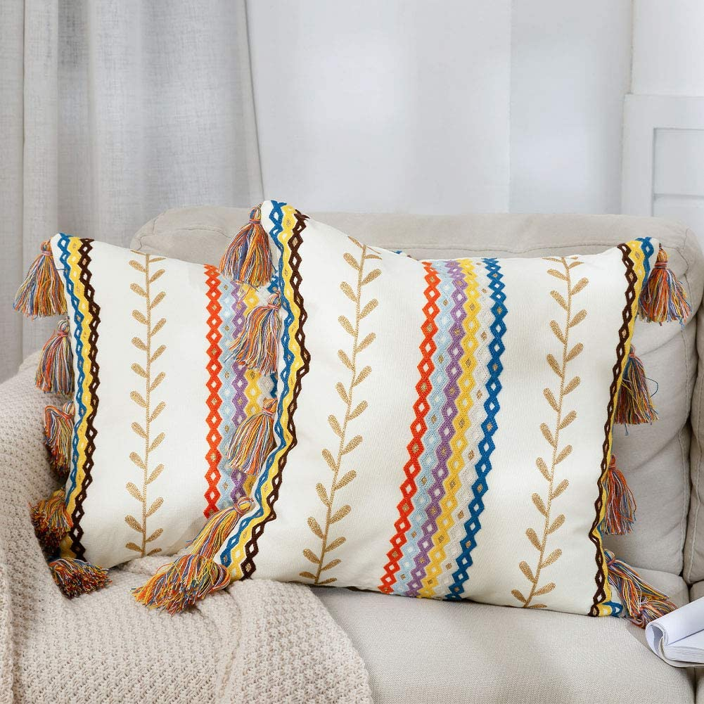 Bohemian Colorful Moroccan Pillow Cover Finally resale start Boho of Set Embroider 2 Spasm price