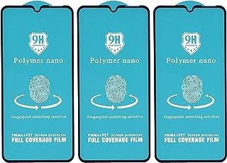 شاشة حماية لاصقة منحنية زجاج مقوى نانو بوليمر مقاومة للصدمات لموبايل ون بلس 6T، 6.4 بوصة، 3 قطع - اسود
