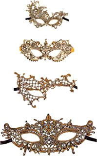 Exquisite High-end Lace Masquerade Mask (Golden/Venetian)(Pack of 4) (golden/13-16)