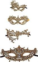 Ru S Exquisite High-end Lace Masquerade Mask (Golden/Venetian)(Pack of 4) (golden/13-16)
