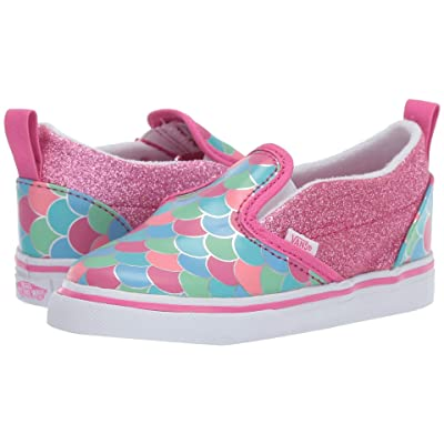 Vans Kids Slip-On V (Toddler) ((Mermaid Scales) Carmine Rose/True White) Girls Shoes