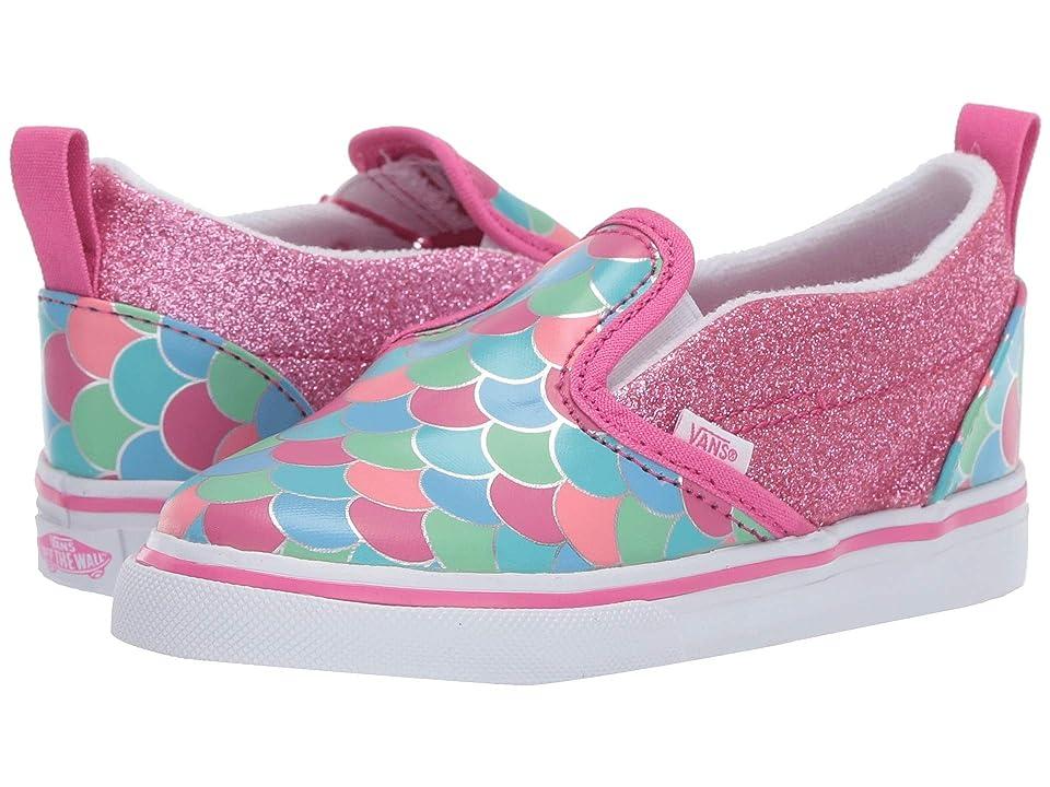 Vans Kids Slip-On V (Toddler) ((Mermaid Scales) Carmine Rose/True White) Girls Shoes