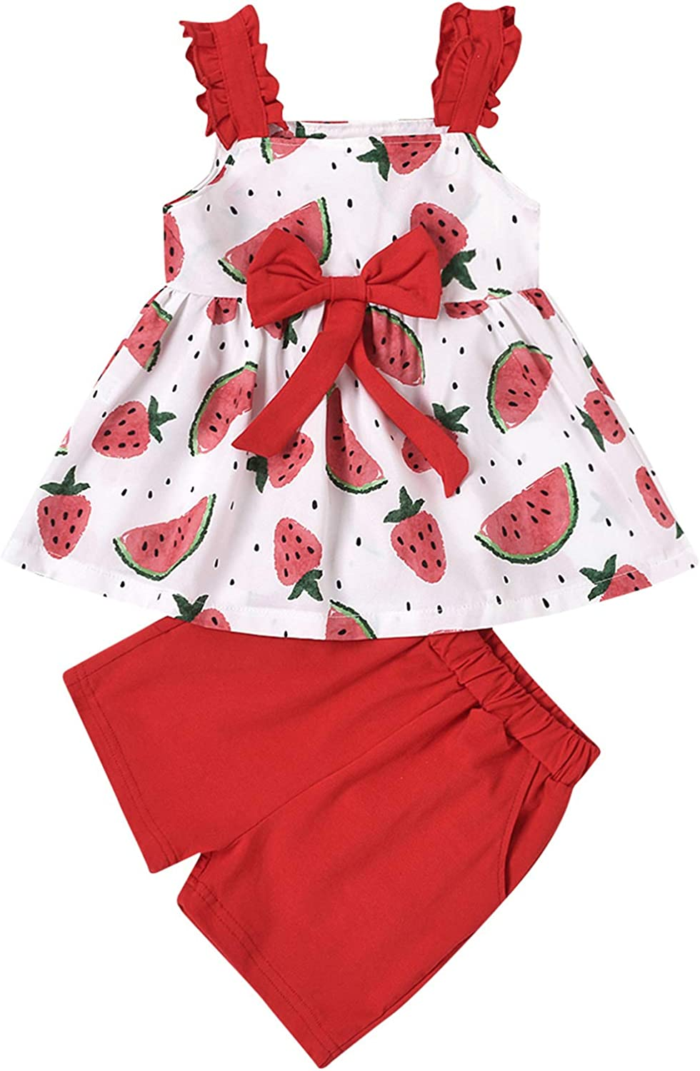 Baby Girl Clothes Toddler Girl Floral Crop Top Bowknot Halter Shirts + Solid Shorts Summer Outfits