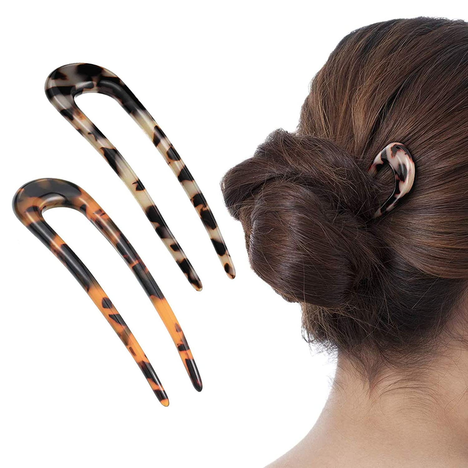 [2 Pack] Benefree French Style Cellulose Acetate Tortoise Shell U Shaped Hair Pins Fork 2 Prong Updo Chignon Pin for Women Girls Hairstyle Accessories(Tortoiseshell and White Tortoiseshell)