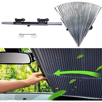SASKATE Pare-soleil r/étractable pour pare-brise de voiture Protection UV Pare-soleil avant pare-brise Accessoires de pare-brise 47 cm