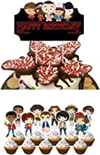 Cupcake Toppers for Stranger Things Themed Party Supplies Happy Birthday Cake Topper 11 Pc Stand Up Wafer Cake Decorations