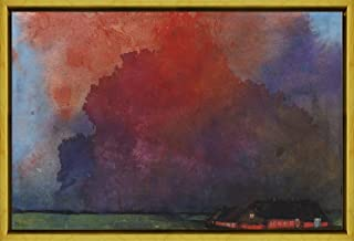 Berkin Arts Framed Emil Nolde Giclee Canvas Print Paintings Poster Reproduction(Farm under storm clouds)