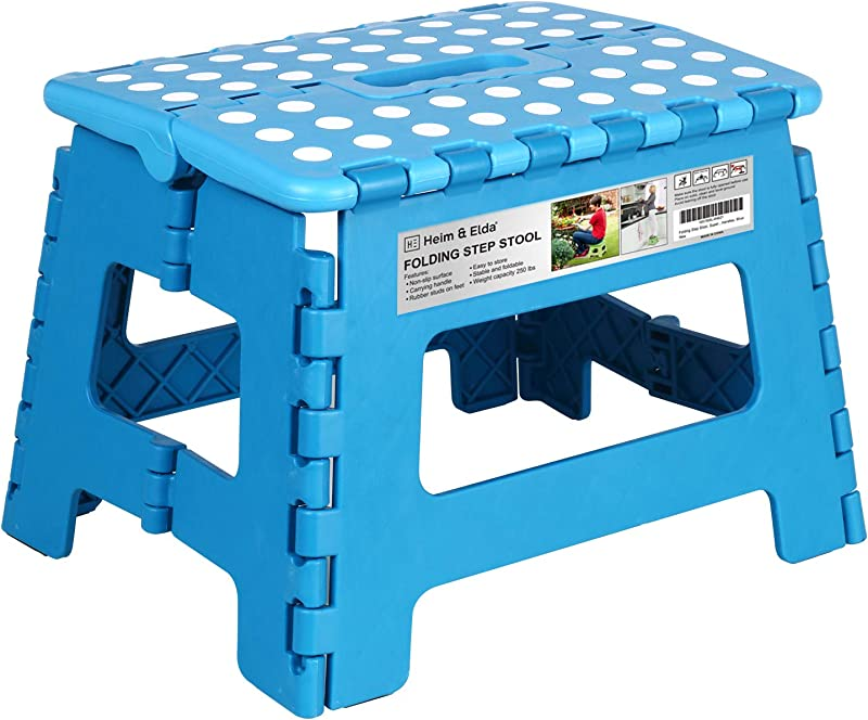 Heim Elda Folding Step Stool Super Strong Plastic 9 Inch Step Stool For Kids And Adults With Handles Blue