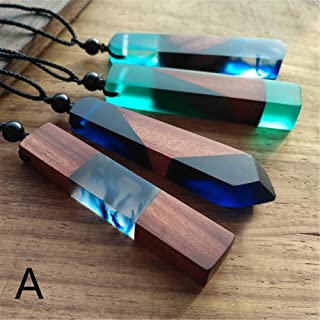 NewKelly 1pc Women Men Necklace Handmade Vintage Resin Wood Statement Necklaces Long Rope Wooden Pendants Necklace Jewelry Birthday Gifts Random Color (A)