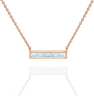 PAVOI 14K Gold Plated Thin Bar Green/White Created Opal Necklace Pendant 16-18