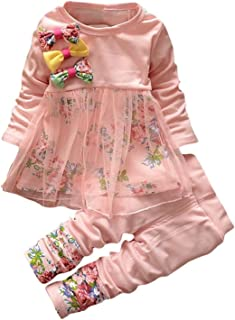 Baby Clothes Set, PPBUY Toddler Girls Floral T-shirt Dress + Pants 2PCS Outfits