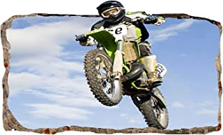 Mural Wall Art Startonight 3D Photo Decor Motocross Jump Amazing Dual View Surprise Large 32.28 inch By 59.06 inch Wall Mural Wallpaper for Living or Bedroom Sport Collection Wall Art