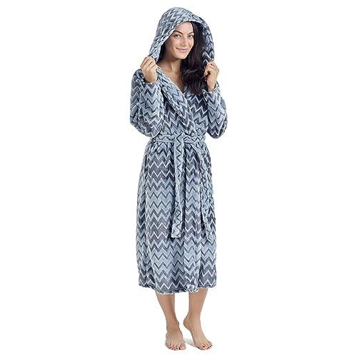 2b94371dcd CityComfort Ladies Dressing Gown Fluffy Super Soft Hooded Bathrobe for Women  Plush Fleece Perfect for Spa