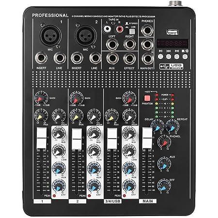 ammoon Mixer Console di mixaggio Bluetooth Audio linea microfonica a 4 canali con interfaccia USB EQ 48V a 3 bande con alimentazione Phantom