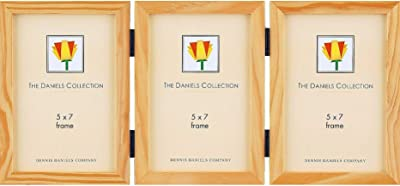 The Original Daniels W41 Natural-Stain Essentials Wood hinged Triple 5x7 by Dennis Daniels -