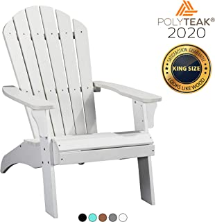 PolyTEAK King Size Adirondack Chair, White | Adult-Size, Weather Resistant, Made from Special Formulated Poly Lumber Plastic