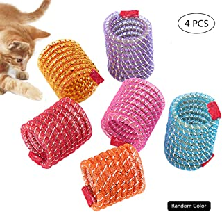 Worbee Cat Springs Toys, Colorful Coil Spring Action Cat Toy Stretchable Pet Play Toy for Cat Kitten (4Pcs, Random Color)