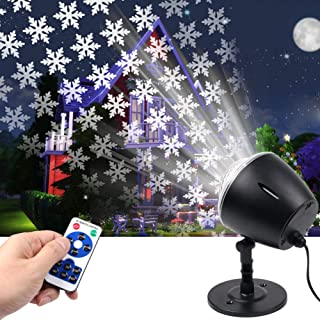 Christmas Projector Lights,White Moving Snowflake Light Projector Halloween Outdoor Decorations Waterproof for Landscape Garden Holiday Thanksgiving Party