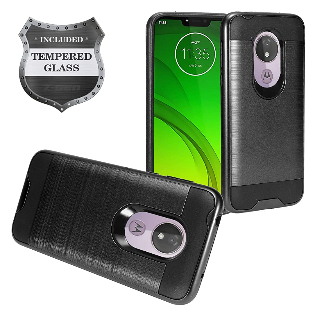 Z-GEN - Motorola Moto G7 Power (U.S. Version), G7 Supra XT1955 - Brushed Style Hybrid Phone Case + Tempered Glass Screen Protector - CS3 Black