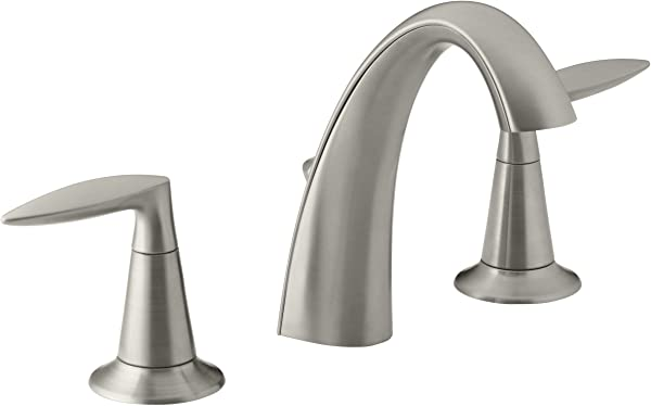 KOHLER Alteo K 45102 4 BN 2 Handle Widespread Bathroom Faucet With Metal Drain Assembly In Brushed Nickel